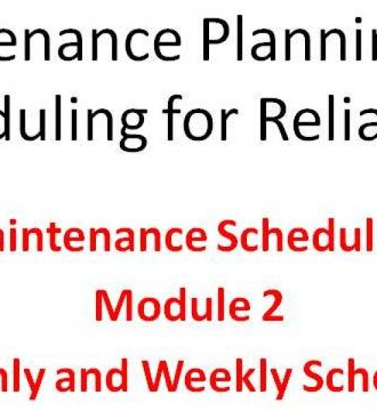 Scheduling Module 2 of the Lifetime Reliability Solutions Online Maintenance Planning and Scheduling Training Course